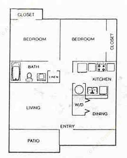 809 sq. ft. B1 floor plan