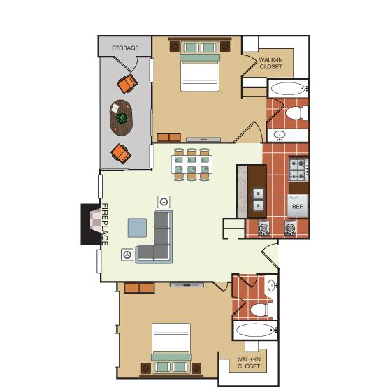 981 sq. ft. 2F floor plan