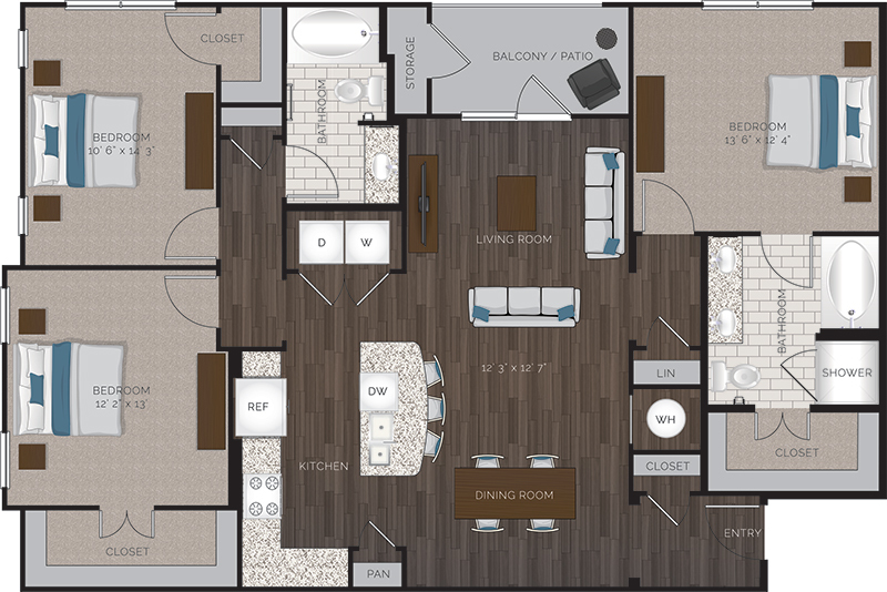 1,460 sq. ft. C1.1 floor plan