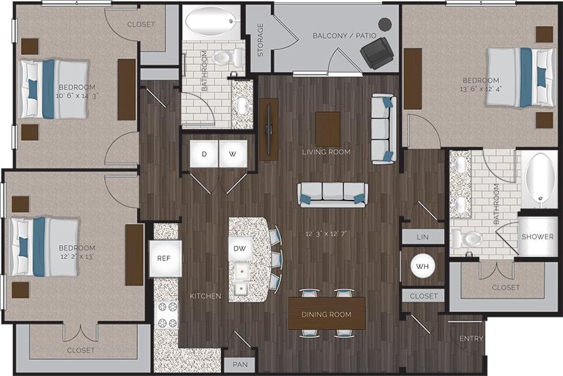 1,460 sq. ft. C1 floor plan