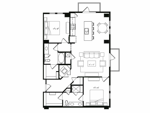 1,295 sq. ft. B4 floor plan