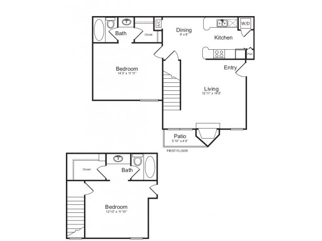 1,014 sq. ft. F floor plan