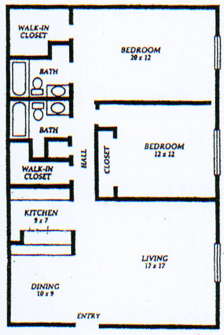 1,235 sq. ft. E floor plan