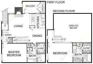 1,052 sq. ft. floor plan