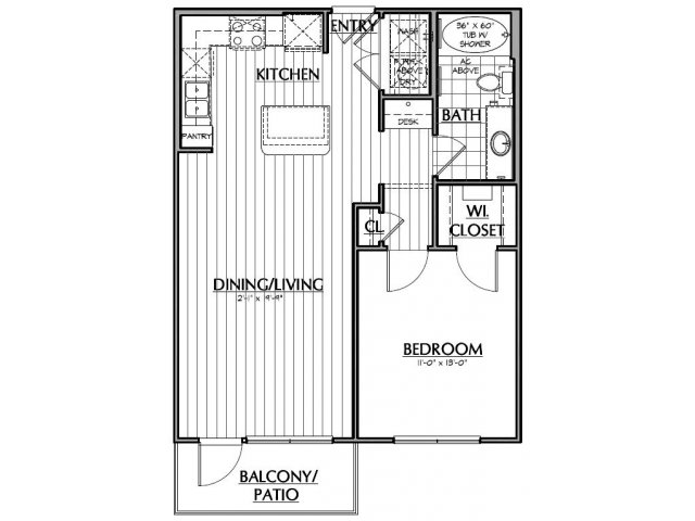 720 sq. ft. A2M floor plan