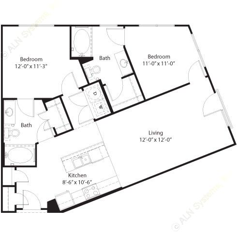 993 sq. ft. Sabine floor plan