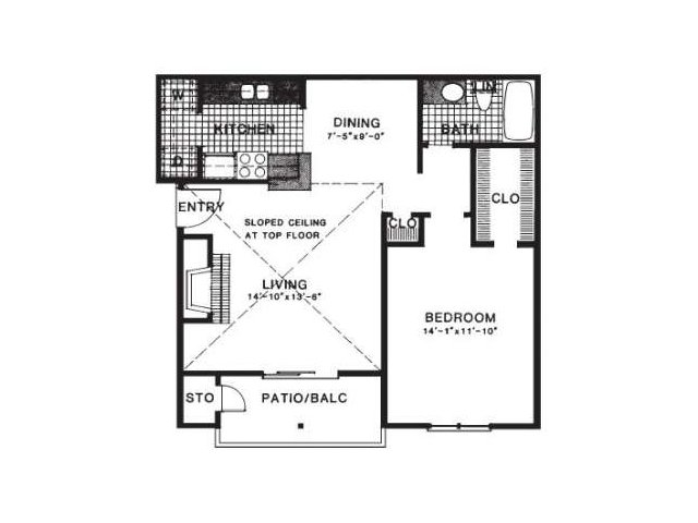 751 sq. ft. A4/UP floor plan