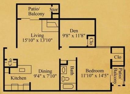 787 sq. ft. B-1 floor plan
