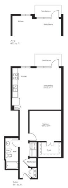 811 sq. ft. A4A floor plan