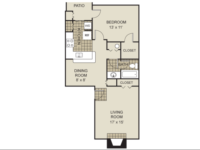 731 sq. ft. A5-A floor plan