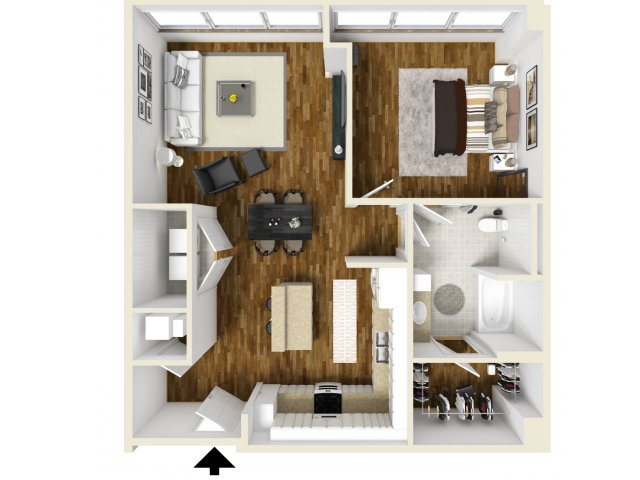 936 sq. ft. Deep Ellum floor plan