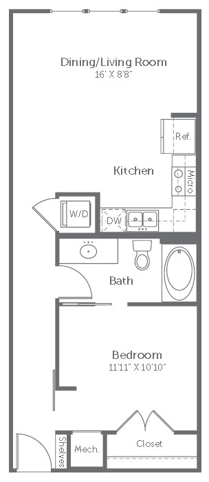 642 sq. ft. to 744 sq. ft. S1 floor plan