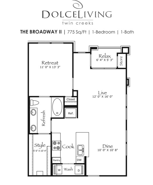 775 sq. ft. A1-Broadway floor plan