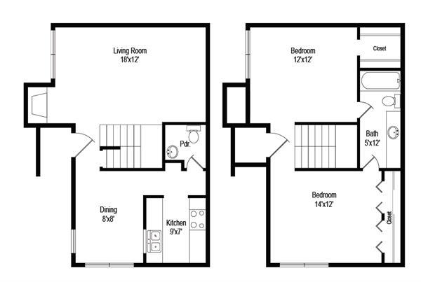 1,034 sq. ft. B3 floor plan