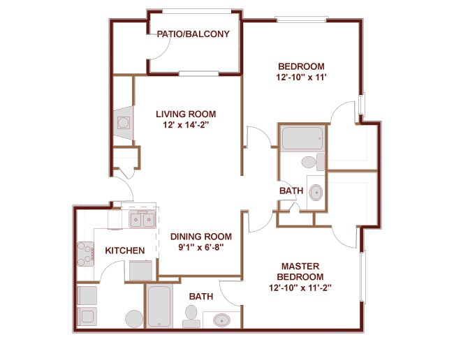 954 sq. ft. to 999 sq. ft. 22A floor plan