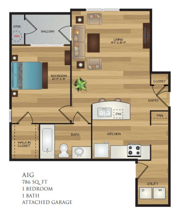 786 sq. ft. A1G floor plan