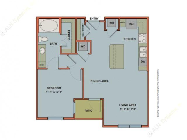 724 sq. ft. A5 floor plan