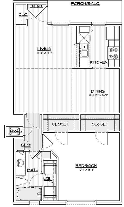 763 sq. ft. 30% floor plan