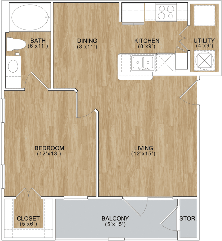 633 sq. ft. Edgewood floor plan
