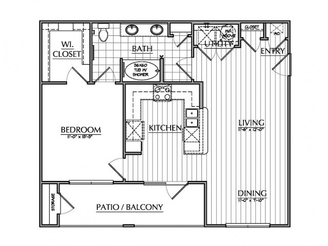 820 sq. ft. A3 floor plan