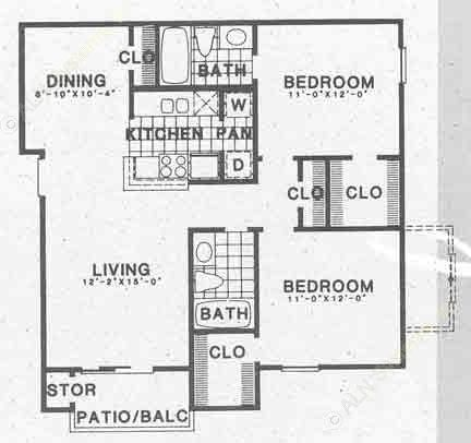 929 sq. ft. B2A floor plan