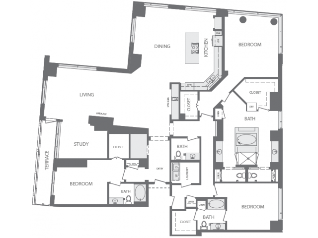 3,696 sq. ft. U floor plan