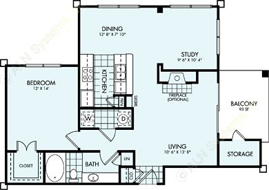 935 sq. ft. A5L floor plan