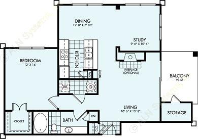 935 sq. ft. A5L floor plan