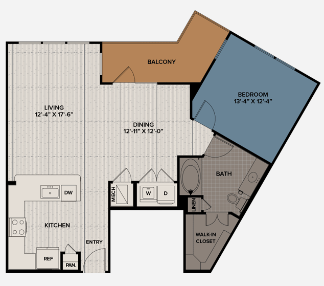 936 sq. ft. A9 floor plan