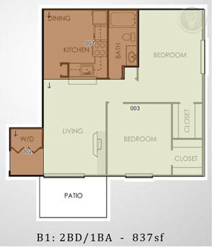 873 sq. ft. B1 floor plan
