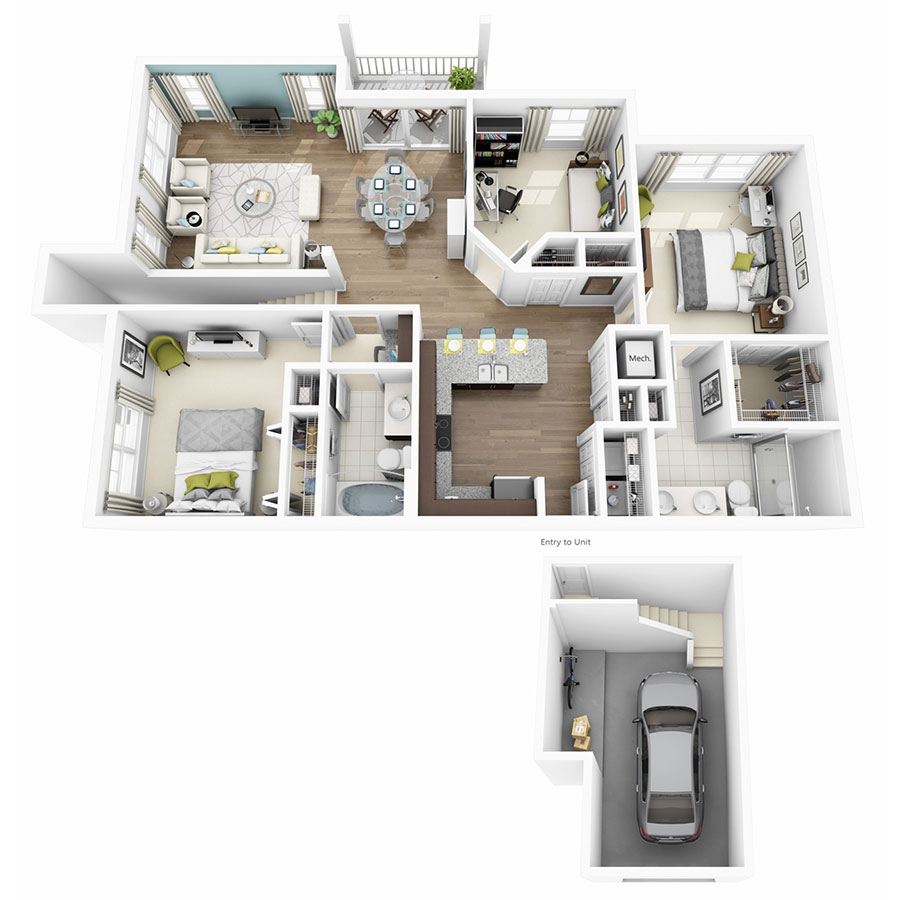 1,361 sq. ft. to 1,379 sq. ft. Rhapsody floor plan