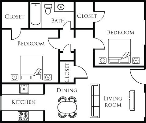 823 sq. ft. A floor plan