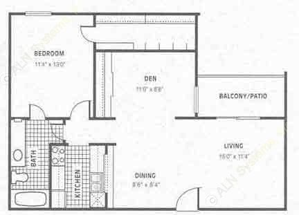 769 sq. ft. A4 floor plan