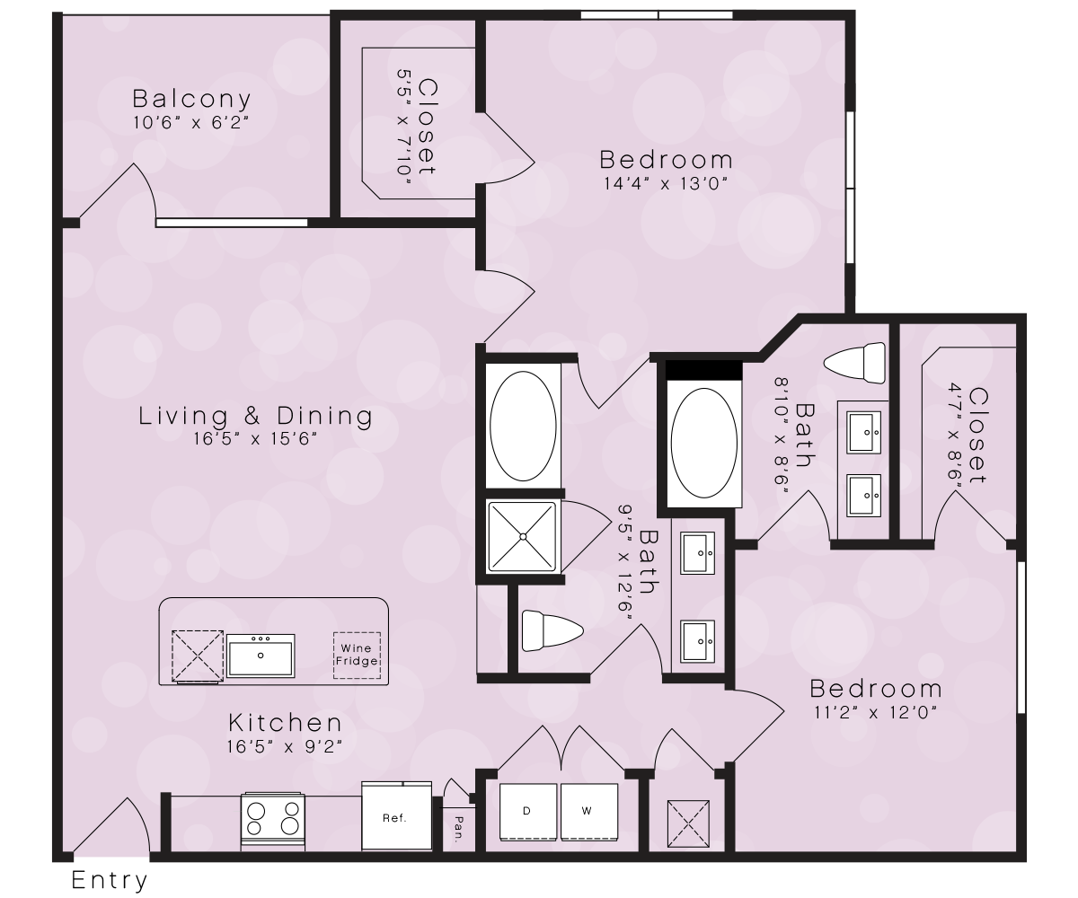 1,135 sq. ft. B4A floor plan