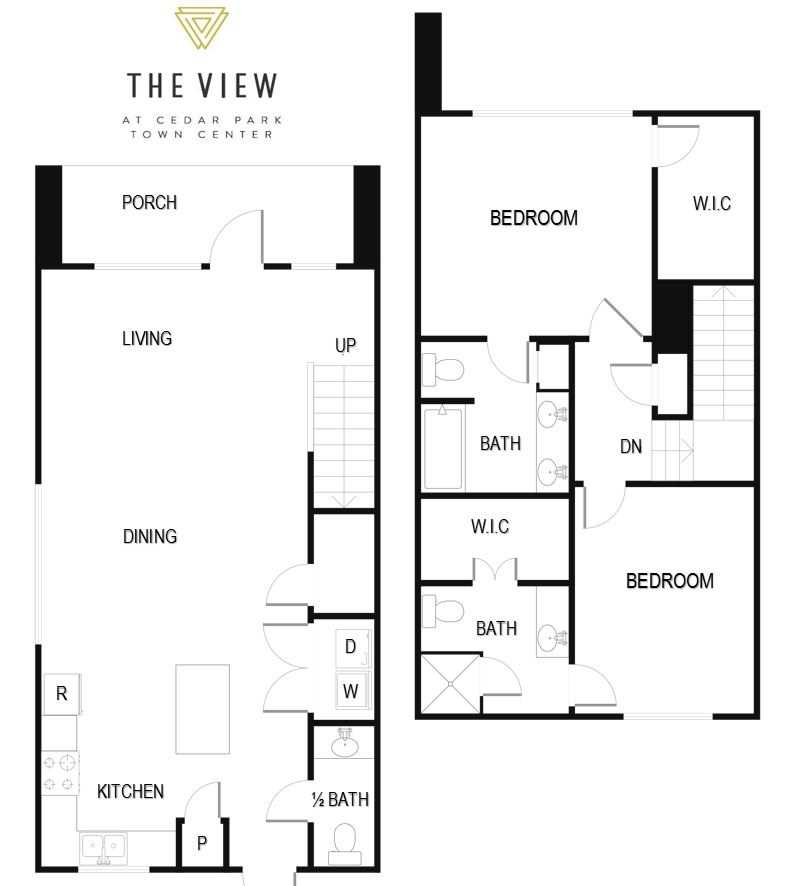 1,300 sq. ft. B4TH floor plan