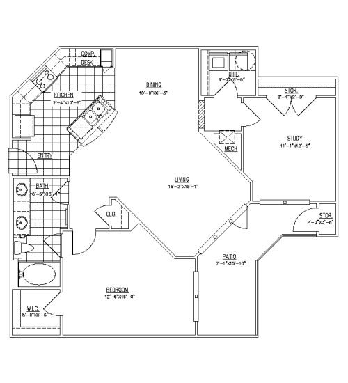 1,087 sq. ft. A4 floor plan