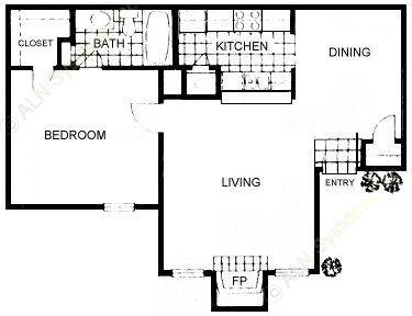 697 sq. ft. floor plan