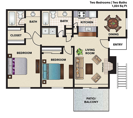 1,024 sq. ft. B1 floor plan