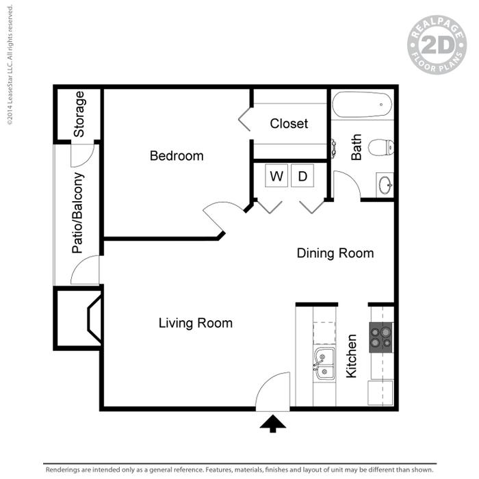 517 sq. ft. A1 floor plan