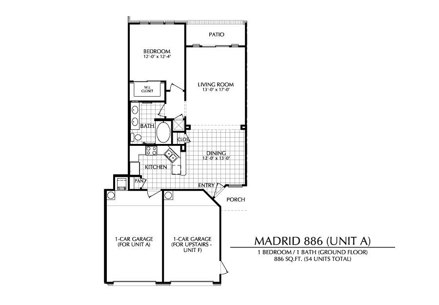 886 sq. ft. A floor plan