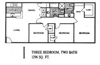 1,296 sq. ft. I floor plan