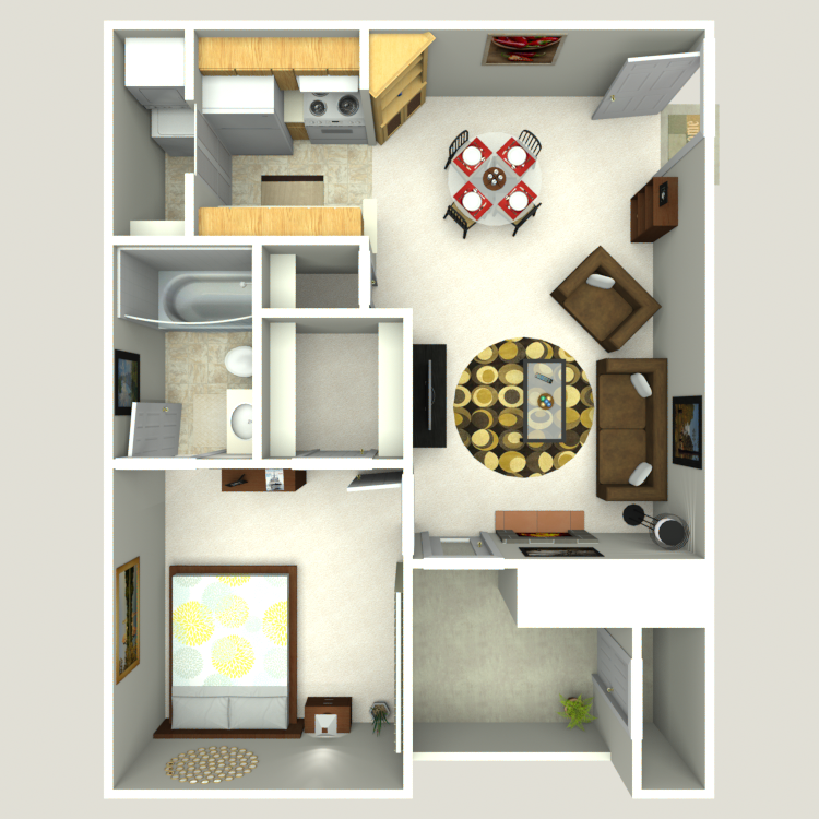 508 sq. ft. A-1 floor plan