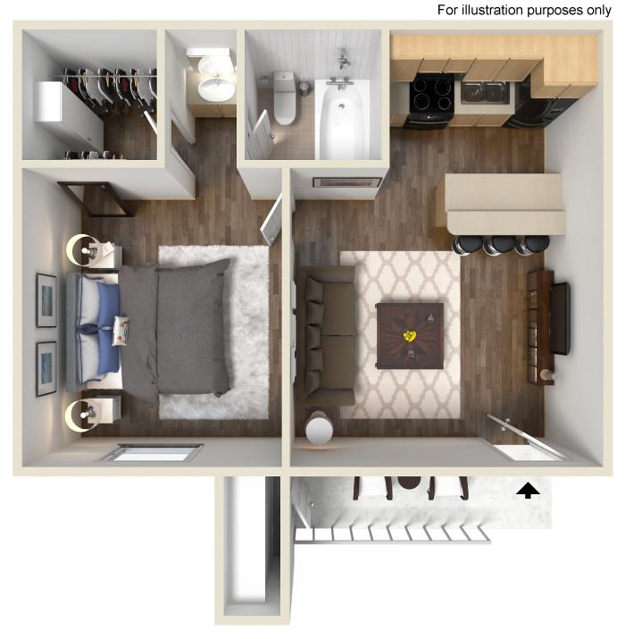 505 sq. ft. A floor plan