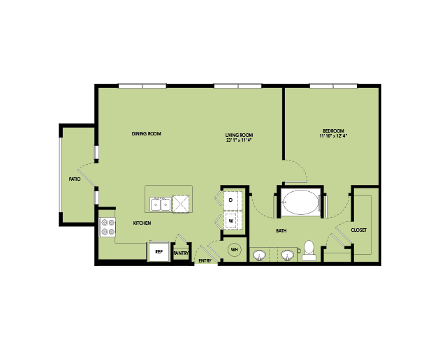 828 sq. ft. A5.4 floor plan
