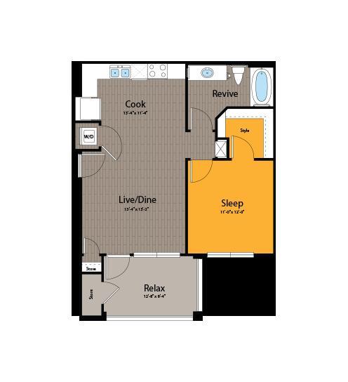 657 sq. ft. A1 floor plan