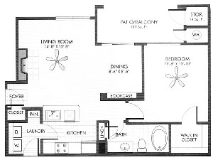 798 sq. ft. Lapis floor plan