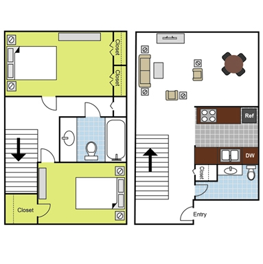 1,080 sq. ft. B3 floor plan