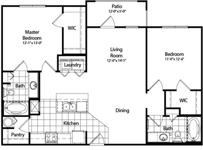 1,067 sq. ft. B4 floor plan