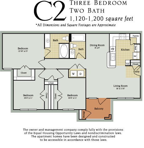 1,120 sq. ft. to 1,200 sq. ft. C2 60% floor plan