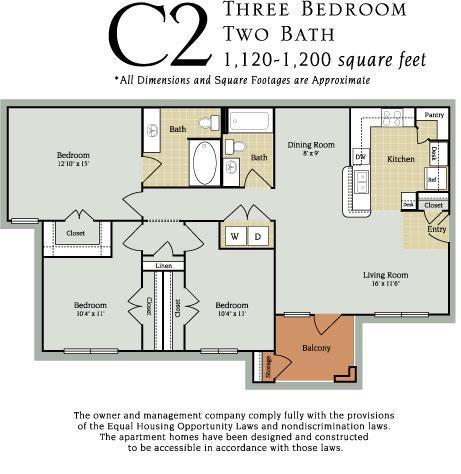 1,120 sq. ft. C2 60% floor plan